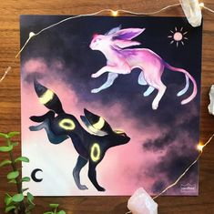 Espeon & Umbreon Print! Can anyone tell that I'm obsessed with the eeveelutions? They're some of my favorite pokemon, they're just so cute! And this pokemon fan art print is beautiful!