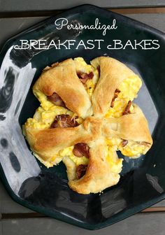 We just love these personalized Breakfast Bakes. Pick your own toppings. I made these in the toaster oven. What could be better? Egg and Cheese Crescent Ring.