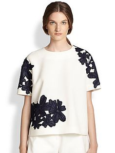 MSGM Embroidered Floral Lace Top