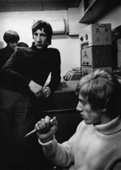 Roger Daltrey and Pete Townshend   listening to a play back of   'My Generation at the IBC studios,   London 1966