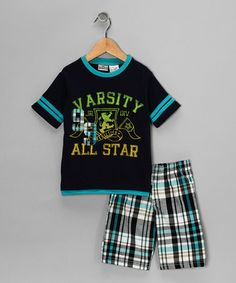 Take a look at this Navy 'Varsity' Tee & Shorts - Infant by Little Rebels on #zulily today!