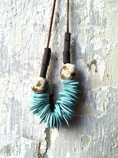 Collana di turchese, turchese gioielli, collana in ceramica, collana, Wabi sabi, gioielli di porcellana, porcellana collana