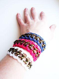 Chain Bracelet Crochet Snow White Lace by CrochetPocket on Etsy, $9.90