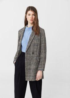 Wełniany płaszcz w kratę - Kobieta | OUTLET Polska