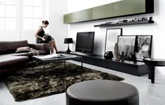 Nice harmony in this living room with multiple colors (bown, black and taupe) and materials
