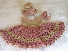 Baby Girl's Crocheted Dress, Hat and Booties