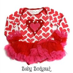 Girls Infant Baby Red Pink Valentine Hearts Chiffon Ruffles Boutique Tutu Bodysuit Dress ( 0-18 months)