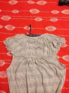 Anthropologie Little Yellow Button Metallic-Stripe Ruffle Shirt #Swapdom