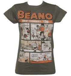 Ladies Charcoal Vintage Beano Comic Cover T-Shirt