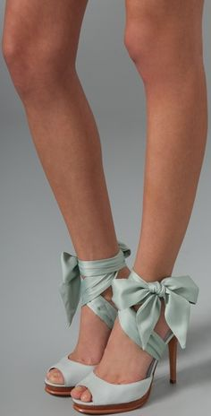 Serious shoes.   Green shoes with bows