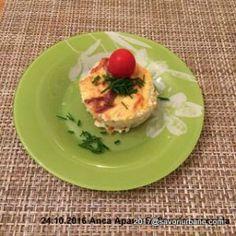 Sufleu de conopida simplu sau cu baby spanac | Savori Urbane Gouda, Baked Potato, Potatoes, Eggs, Baking, Breakfast, Ethnic Recipes, Morning Coffee, Potato