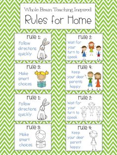 Whole Brain Teaching (Rules for Home); Free Posters schoolisahappyplace.blogspot.com