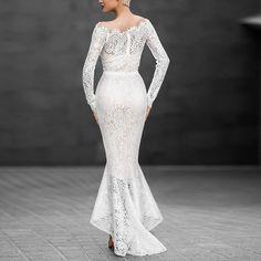NIBESSER 2017 Elegant Slim Dresses For Women Long Sleeve Slash Neck White Lace Hollow Out Trumpet Long Dresses Fit Wedding Party