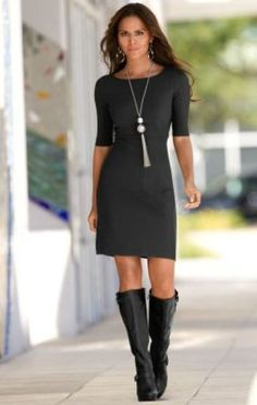 above knee black Dress and black boots - love this look. now only if I was taller & skinner I could pull it off: Boston Proper, Sleeve Travel, Style, Dresses, Outfit, Black Dress, Elbow Sleeve