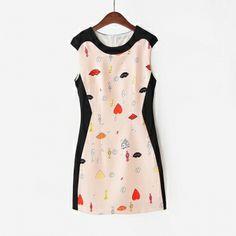 Fashoin Enchating Fashionable Dizzying Blending round neck Sleeveless Print Fashion Dresses vzgirl.com