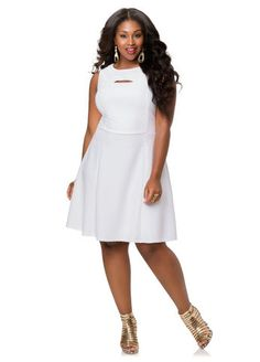 15ee40e65f3 Jeweled Textured Skater Dress-Plus Size Dresses-Ashley Stewart