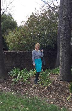 Pencil skirt, stripes and denim jacket // what's up cork // a curvy petite fashion blog