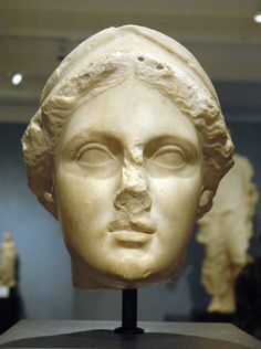 Head of Athena, at the Getty Villa. Greek, made in Asia Minor, BC 160 - 150.