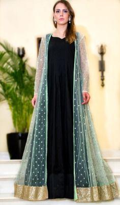 Prathyusha Garimella , mint , green , net , sequins , booties , black , black inner , gown, floor length anarkali , anarkali , reception , wedding , sangeet , contemporary , royal