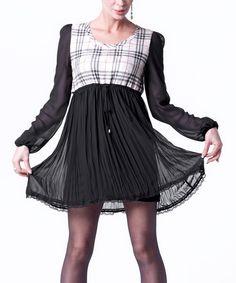 Look at this #zulilyfind! Black & Beige Plaid-Bodice Pleated Empire-Waist Dress by Special Designs #zulilyfinds