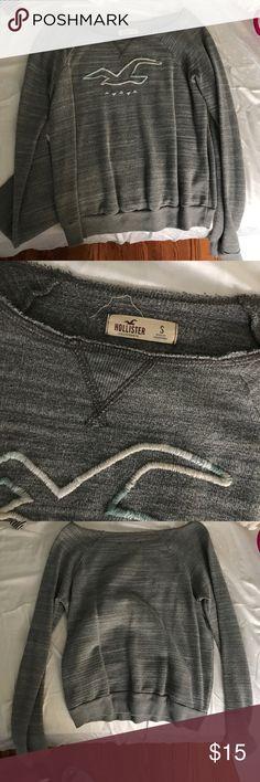 Hollister off the shoulder crew neck Hollister grey off the shoulder pullover size SMALL Hollister Sweaters Crew & Scoop Necks