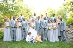 Beautiful bridal party photo. Love the grey and yellow color palette   Photo by http://ambphoto.com Florals by http://aproposperth.com