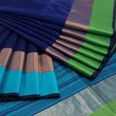 Ghanshyam Sarode Dark Blue Handwoven Silk Cotton Saree With Ganga Jamuna Border & Striped Pallu 10009592 - profile - AVISHYA.COM