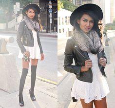 leather jacket, scarf, knee high socks,