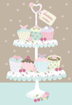 """Happy Birthday"", illustrated by Martina Hogan Funny Happy Birthday Wishes, Happy Birthday Cupcakes, Best Birthday Quotes, Happy Birthday Pictures, Happy Birthday Greetings, Funny Birthday, Bday Cards, Creations, Birthdays"