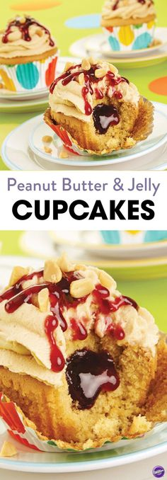 Peanut Butter & Jelly Cupcakes Recipe - PB&J sandwiches are every child's favorite lunchtime choice. These nostalgic sweet treats will definitely steal the spotlight at your next party. Pair cupcakes with a cold glass of milk and enjoy! Makes about 24 cupcakes.