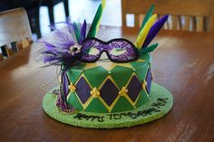 Green and purple Mardi Gras birthday cake Adult Birthday Cakes, Green And Purple, Mardi Gras, Desserts, Carnival, Tailgate Desserts, Deserts, Birthday Cakes For Adults, Postres