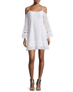 TBX4G Nanette Lepore Cold-Shoulder Eyelet A-line Dress, White