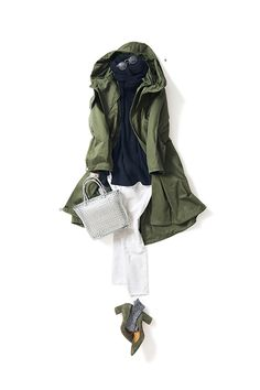 Navy blue sweater, olive green utility jacket, white jeans