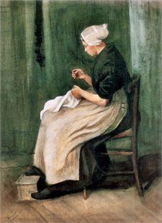 Scheveningen Woman Sewing - Vincent van Gogh - 1882