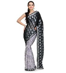 Black and Off White Viscose and Brasso Saree | Fabroop USA | $52.00 |