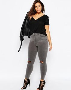 ASOS Curve | ASOS CURVE Ridley Skinny Jeans in Slated Gray with Shredded Rips at ASOS