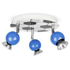 Childrens Bedroom Blue Football 3 Way Ceiling Spot Light Spotlight Lamp Lights