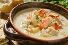 A seafood chowder recipe acked with goodness, a meal in itself. Seafood Chowder Recipe from Grandmothers Kitchen. Crock Pot Recipes, Cooking Recipes, Lobster Soup, Lobster Bisque, Lobster Tails, Lobster Chowder Recipe Maine, Chowder Recipes, Seafood Recipes, Soup Recipes