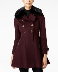 Via Spiga Faux-Fur-Collar Skirted Wool Coat - Red 18