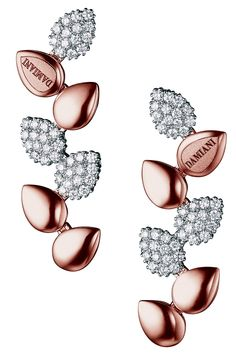 18k White and Rose Gold Damiani earrings with 1.55cts in Diamonds, from the Antera Collection. Item number is 20021287.