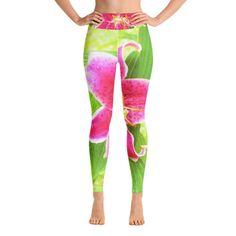 Leggings, Yoga Leggings for Women, Pretty Deep Pink Stargazer Lily on Lime Green, High Waist Women's Fashion Workout Pants Capri Leggings, Workout Leggings, Workout Pants, Women's Leggings, Stargazer, Yoga Session, Spandex Material, Aqua Blue, Fitness Fashion
