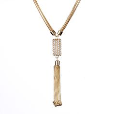 Gold-tone brass tassel necklace with Austrian crystals.