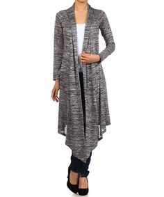 Another great find on #zulily! Gray & Black Long-Sleeve Shawl Collar Open Cardigan by Pretty Young Thing #zulilyfinds