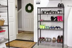 Keep a small shelf outside the door to your garage for shoe storage. | Simply Organized