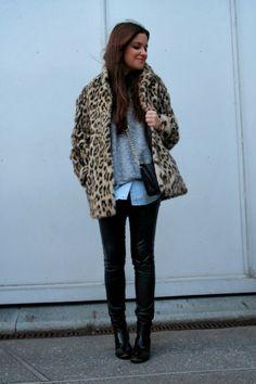 Street style: Leopard fur coat