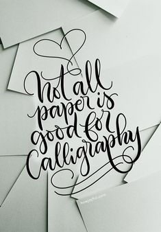 Not all paper is good for calligraphy Brush Lettering Worksheet, Brush Lettering Quotes, Brush Pen Calligraphy, Calligraphy Paper, Chalk Lettering, Watercolor Lettering, Doodle Lettering, Learn Calligraphy, Pretty Fonts Alphabet
