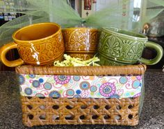 Retro Coffee Mugs Cups Gift Basket by SucresDaintyDish on Etsy, $18.99