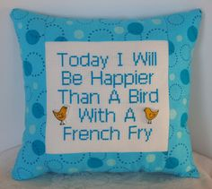 Turquoise Mini Pillow Cross Stitch Happier Than A by NeedleNosey, $20.00
