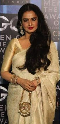 """Rekha: """"by popular consensus, the best saree wearer in the film industry. Traditional Sarees, Traditional Dresses, Indian Attire, Indian Wear, Indian Dresses, Indian Outfits, Star Fashion, Indian Fashion, Indian Blouse"""