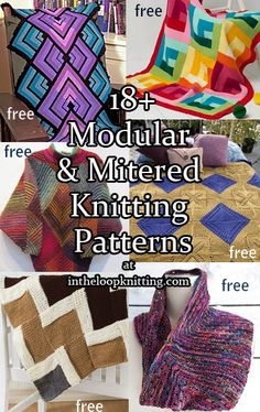 Knitting patterns for Mitered and Modular Afghans and more. Most patterns are free